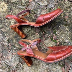 Shoes - Vintage terracotta leather cutout shoes